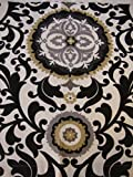 Valance Damask Pattern on White Background Black Gray Gold Window Treatment Topper Review