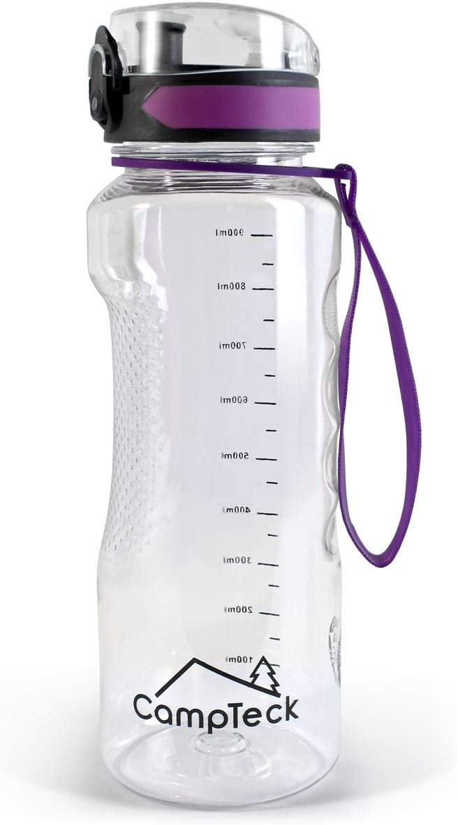 CampTeck BPA Free Botella Agua de 1 litro (1000 ml 1l Water Bottle Deportiva Tritan - Tapa antirreflejo con Cierre a Prueba de Fugas - con Correa de Transporte