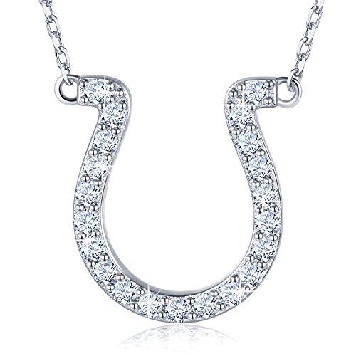 (BlingGem 18K White Gold-Plated Sterling Silver Cubic Zirconia Horseshoe Pendant Necklace for Women)