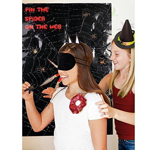 Birthday On Halloween (AerWo Halloween Party Games Decorations, Pin The Spider On The Web Game, 31.5