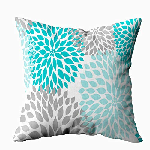 Shorping Zippered Pillow Covers Pillowcases 16X16 Inch turquoise blue gray floral dahlias mums pillow Decorative Throw Pillow Cover ,Pillow Cases Cushion Cover for Home Sofa Bedding