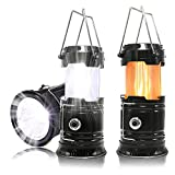 2 Pack Portable LED Camping Lantern, HLZHOU [2018 UPGRADED][3-IN-1] Decorative Flame light Ultra