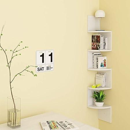 Costruire Mensole Per Libreria A Muro.Homfa Mensola Da Muro Ad Angolo 5 Ripiani Scaffale Libri Cd