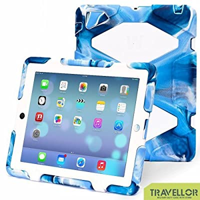 Travellor Ipad 2/3/4 Case Cover Kidproof Rainproof Dustproof Shockproof Anti-wrestling Multiple Protection Silicone Plastic Standing Case for Ipad 2 Ipad 3 Ipad 4 Designed for Outdoor and Travel (Navy Camo/White)