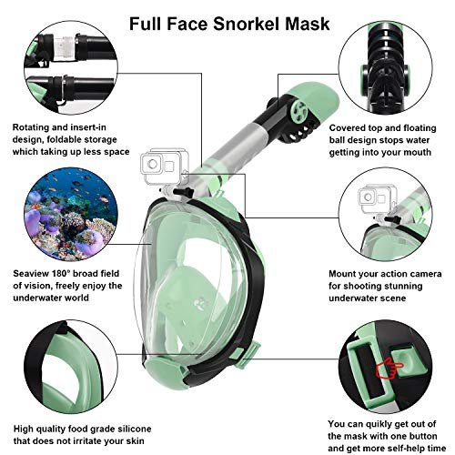 Letsport Full Face Snorkel Mask for Adults Kids, Anti-Leak Anti-Fog Snorkeling Mask with Latest Dry Top System, Foldable 180 Degree Panoramic View Diving Mask with Detachable Camera Mount, Earplug