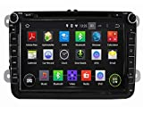 8 Inch Car GPS Navigation DVD Player for Volkswagen Magotan Scirocco Amarok Caddy Passat Sagitar Golf Tiguan Touran Jetta Skoda Seat CC Polo Golf(2006-2012) Android 4.4 Quad Core 1.6G CPU 16G Flash