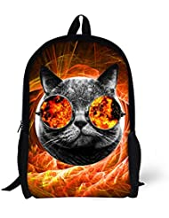 CHALQIN Galaxy Space Backpack Kids Junior School Bag with Glasses Cat
