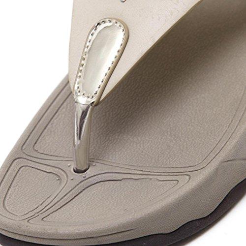 Sandales Bohème Été Femme Rome Chaussures Sandales Plage Pantoufles Sandales JIANGfu Bohème Or Flops Coins de Chaussures Mode la Été Mode Plat de aWSqpO