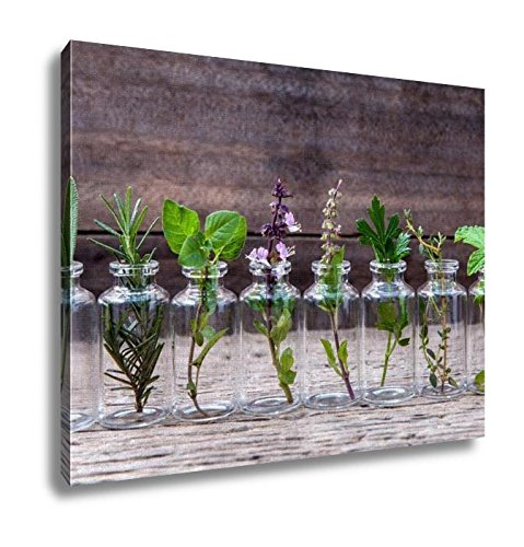 Ashley Canvas, Bottle Of Essential Oil With Herbs Holy Basil Flower Basil, Home Decoration Office, Ready to Hang, 20x25, AG4910356 by Ashley Canvas