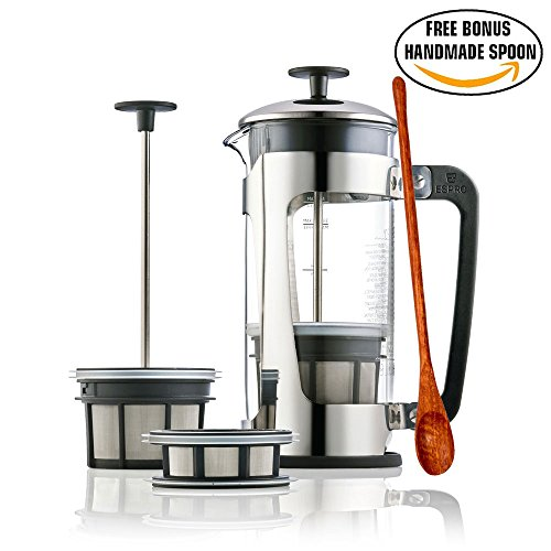 Espro Press P5 - French Press Coffee Press with Thick & Durable SCHOTT Duran glass + Bonus Wooden Stirring Spoon (with Coffee & Tea Filters, 18 oz) (Espro French Coffee Maker 18 Oz compare prices)