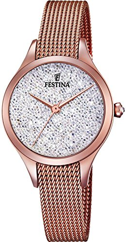 Women's Watch Festina - F20338/1 - Crystals from Swarovski - Rose-Gold and White - Milanese Band