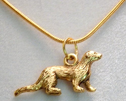 Pewter gold tone ferret necklace (150b)