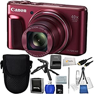 Canon SX720 HS (Red) + 64GB SD Memory Card + High Speed Card Reader + Memory Card Wallet + Micro HDMI Cable + Pistol Grip Tripod + Point/Shoot Carrying Case + Starter Kit & Microfiber Cleaning Cloth!