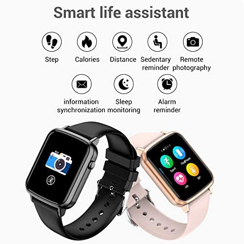 2020 CEGAR Fitness Tracker, Smart Watch with Heart Rate, Ip68 Waterproof Bluetooth Smartwatch for Android iOS Phone, Sleep Tracking Calorie Counter,Pedometer for Women Men (Black) 51DCNkDju5L
