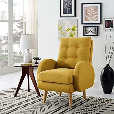 Lohoms Mid-Century Modern Accent Chair Tufted Button Fabric Uphlostered Curved Arm Chair Comfy High Back Chair Single Sofa (Mustard) - Mid century modern Design Arm Chair Sofa match perfectly with any decor theme is a great addition to your living room bedroom or office Ergonomically Designed: comfortable seat cushion filled with soft sponge, upholstered deep seat and ergonomic high back cushion offer maximum comfort & cozy Durable & Long Last: made of solid wood frame and soft sponge, linen fabric cover make this chair durable,can serve you for long time. - living-room-furniture, living-room, accent-chairs - 51DCNqlApYL. SS400  -