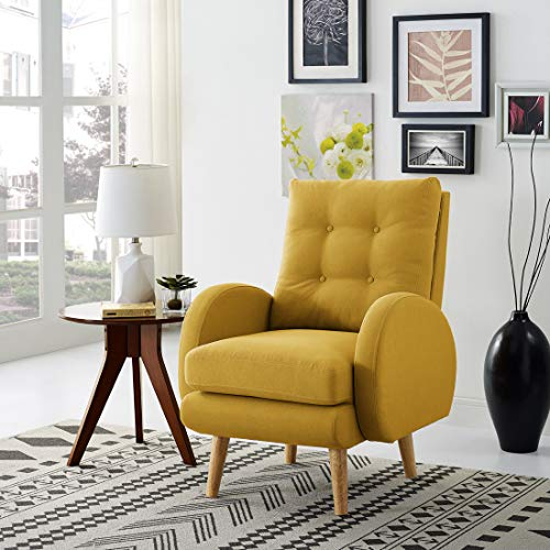 Lohoms Mid-Century Modern Accent Chair Tufted Button Fabric Uphlostered Curved Arm Chair Comfy High Back Chair Single Sofa (Mustard)