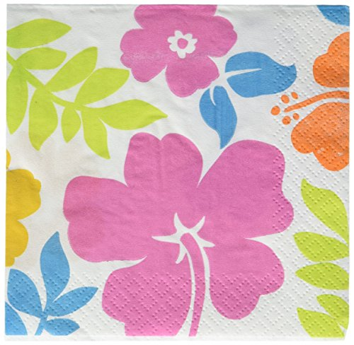 UPC 048419540601, Amscan Hawaiian Tropical Luau Beach Hibiscus White Beverage Napkins (100 Piece), Multi Color, 10 x 5""