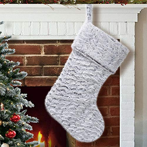 S-DEAL 21 Inches Christmas Stocking Double Layers White Faux Fur Cuff Gift Holder Party Holiday Decoration Mantel Ornament
