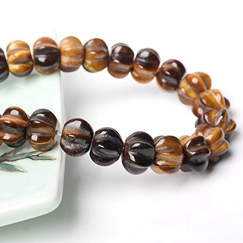 Halloween Necklace Bracelet Earrings Pendant Jewelry Gift Craft Making Beads Supply Natural Yellow Tiger Eye Gemstone Hand Carving Pumpkin Charm Beads One Strand 15 Inch Apx 48 -