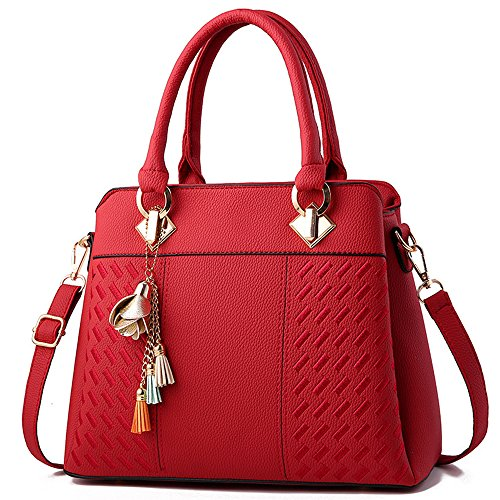 and Satchel Burgundy Womens Handbags Crossbody Bags Ladies FiveloveTwo Purses Messenger Leather Shoulder PU Elegant Tote HF6t8t