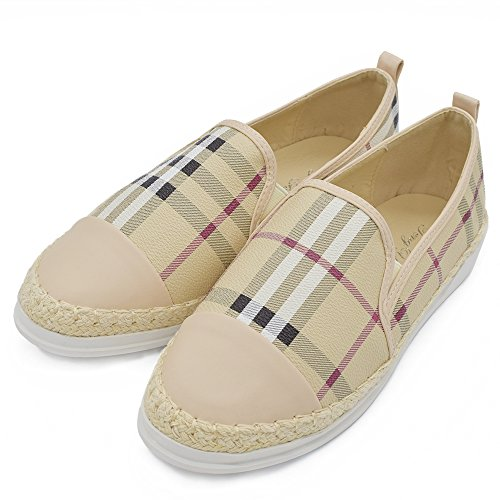 Plaid Espadrille - Tengyu Leather Slip On Flat for Womens Fashion Sneakers Plaid Loafers Espadrilles Comfort Driving Holiday Shoes(8 B(M)US/39 EU/24.5cm, Beige)