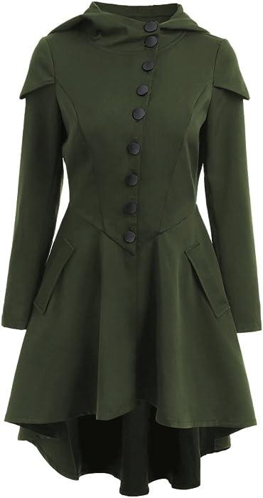 f8ff93c50c72e SKM Women s Plus Size Coats Dress Long Sleeve Layered Lace Up Back High Low  Hem Hoodies Long Coat With Pocket