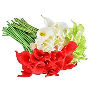Heads Orchid 30Pcs Artificial Flowers Wedding Calla Lily Flower Bouquet Real Touch Flower for Home Party Christmas Decoration 78