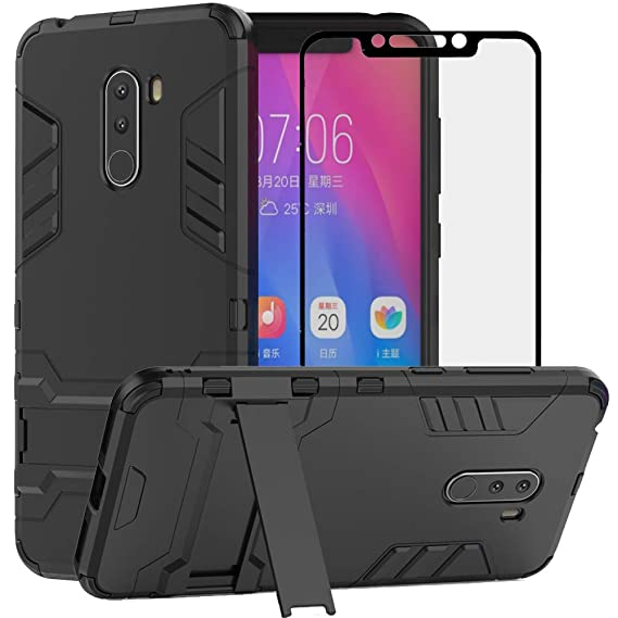 competitive price f7b1c 2664a BestAlice for Xiaomi Pocophone F1 / Poco F1 Case, Hybrid Heavy Duty  Protection Shockproof Defender Kickstand Armor Case Cover with Tempered  Glass ...