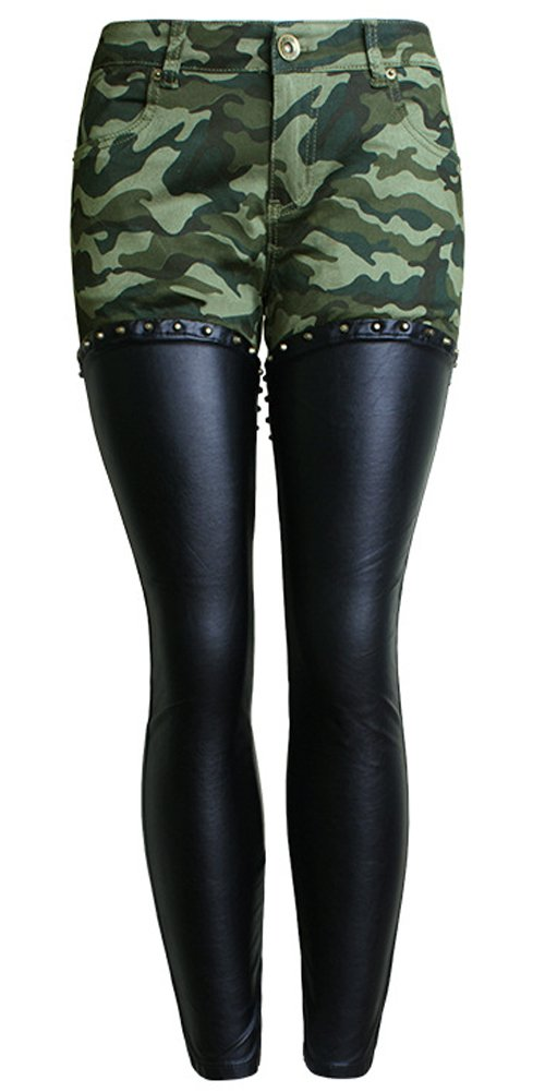 lexiart PU Leather Legs Skinny Lady Jeans,Camo Pencil Low Rise Moto Jeggings Ninth Pants Camouflage Camouflage 12 14 2XL ¡