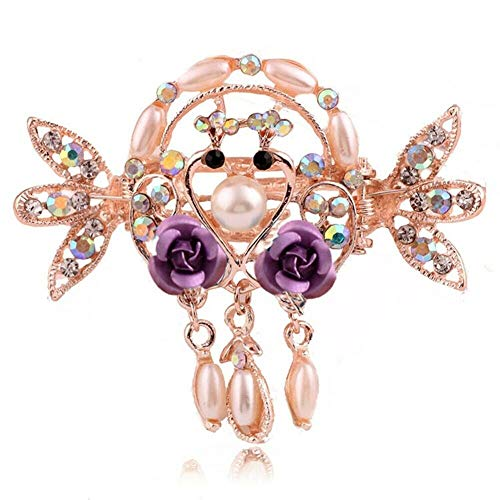 Womens Girls Crystal Rhinestone Flower Bling Barrette Hair Clip Clamp Hairpin (Style ID - Style 17)