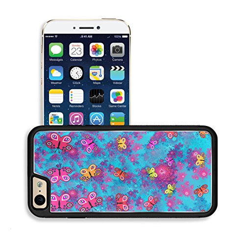 Luxlady Premium Apple iPhone 6 iPhone 6S Aluminum Backplate Bumper Snap Case IMAGE ID: 37799933 Stylized butterflies on pink blue fractal rosebud pattern computer generated graphic