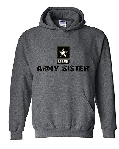 Artix U.S. Army Star Army Sister Army Strong Apparel Unisex Hoodie Sweatshirt Medium Dark Heather (Army Sweatshirt Hooded Sister)
