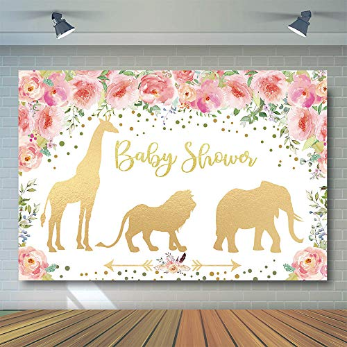 COMOPHOTO Jungle Baby Shower Backdrop Jungle Pink Floral Gold Animals Photography Background 7x5ft Vinyl Safari Girl Baby Shower Decoration Banner Backdrops