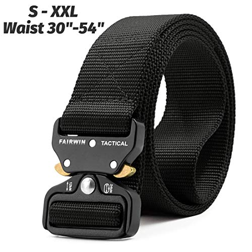 - Fairwin Tactical Belt, Military Style Webbing Riggers Web Belt with Heavy-Duty Quick-Release Metal Buckle (Black, Waist 36