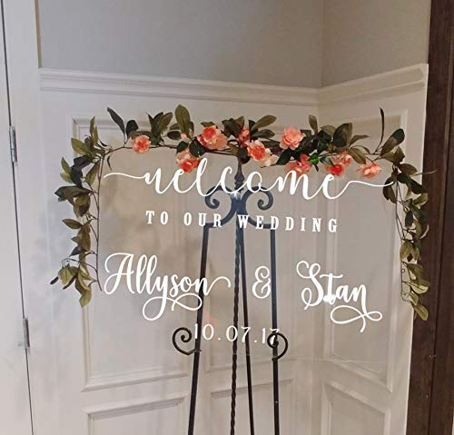 Wedding Welcome Acrylic Lucite Sign V1 Welcome To Our Wedding Customized Personalized Sign Weddings Wedding Signs Chalkboard Mirrors rustic wooden sign calligraphy ()