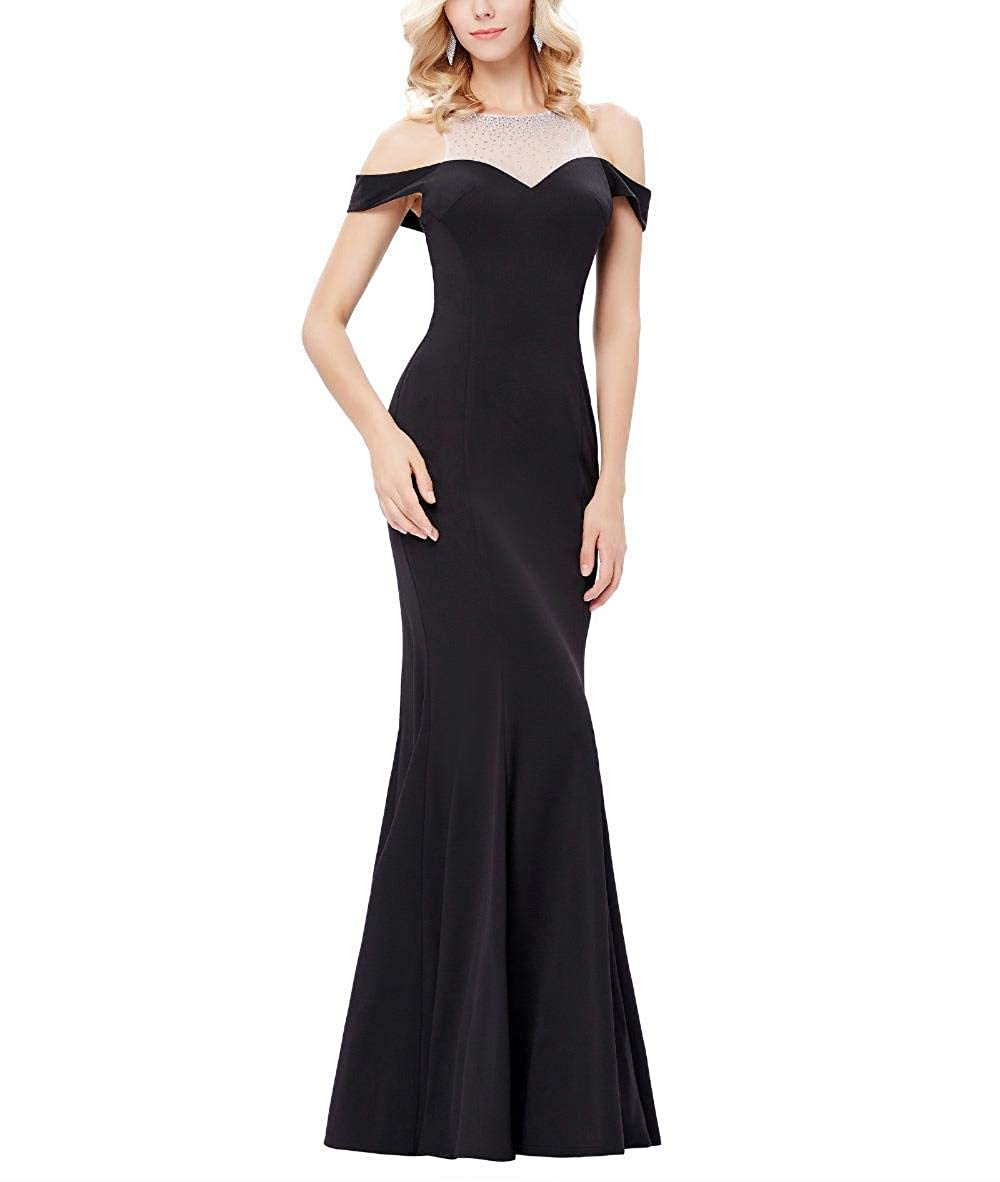 Yisha Bello Womens Off Shoulder Mermaid Formal Party Dress Long Evening Pro Gown