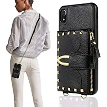 """iPhone XR Wallet Case 6.1"""" 2019, ZVE iPhone XR Case with Credit Card Holder Slot Crossbody Wallet Case Rivet Design Purse Wrist Strap Protective Case Cover for Apple iPhone XR, 6.1 inch - Black"""