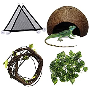 Hamiledyi Bearded Dragon Tank Accessories Lizard Hammock Reptile Coconut Shell Flexible Reptile Leaves with Suction Cups…