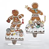 Pack of 4 Gingerbread Kisses Girl and Boy Cookie Stocking Holders 7.5''