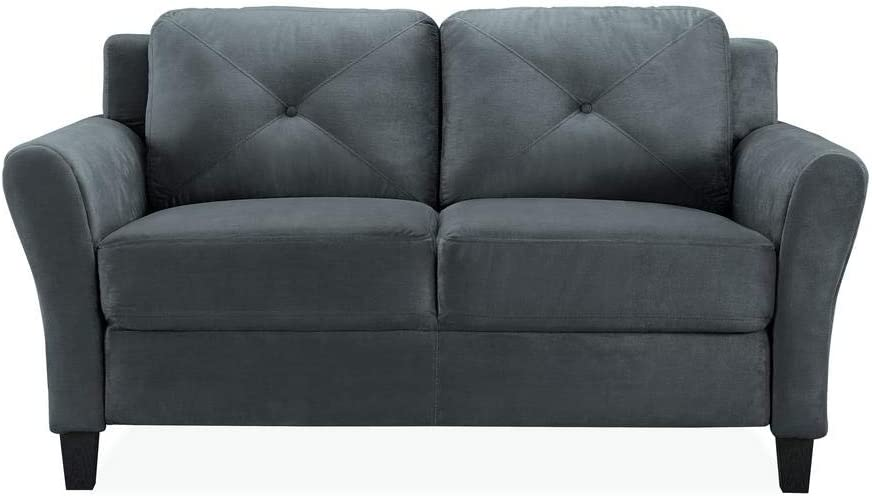 Harvard Microfiber Loveseat with Rolled Arm in Dark Grey with Give-aways