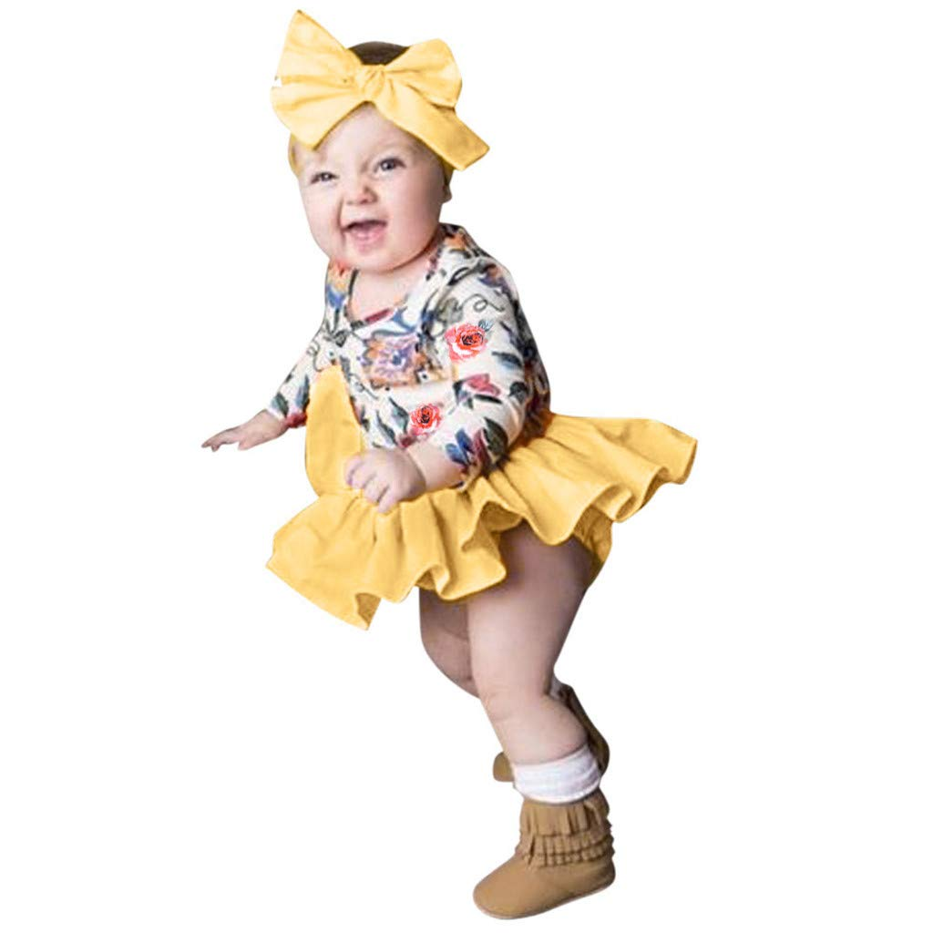 Infant Newborn Girls Summer Shorts Sets 3-24 Months Long Sleeve Floral Print Tops+Shorts+Headband Clothes Outfit