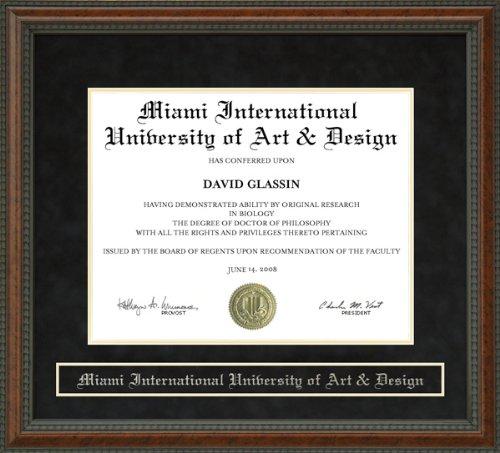 Wordyisms Miami International University of Art & Design (MIU) Walnut Burl Diploma Frame (Miami International University Of Art & Design Miami)