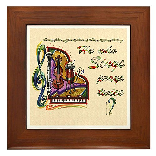 CafePress He Who Sings Prays Twice Framed Tile, Decorative Tile Wall Hanging