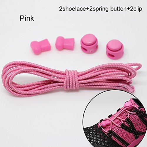 YHLVE - Cordones elásticos sin nudos para zapatillas, con sistema de bloqueo, 1 par, Rosa, Estándar: Amazon.es: Hogar