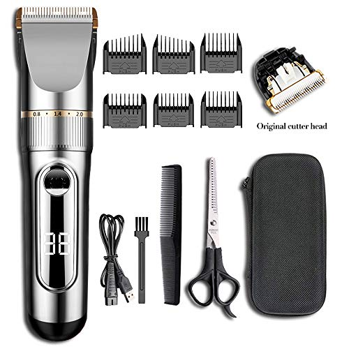 Ensving Hair Clippers,2-Speed Professional Rechargeable Cordless Electric Hair Trimmer,Low Noise Beard Trimmer, Whole Body Washable Hair Cutting Kit, Multi-Purpose Haircut for Men,Baby,Children,Pet (Haircut Clippers Professional)