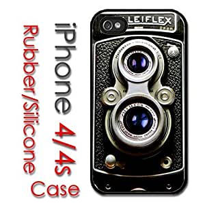 iPhone 4 4S Rubber Silicone Case - Rolleiflex Vintage Retro Camera