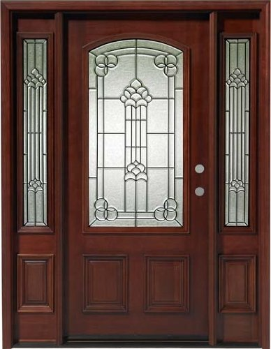 Solid Wood Mahogany Front 1door W 2sl Unit Pre Hung Finished