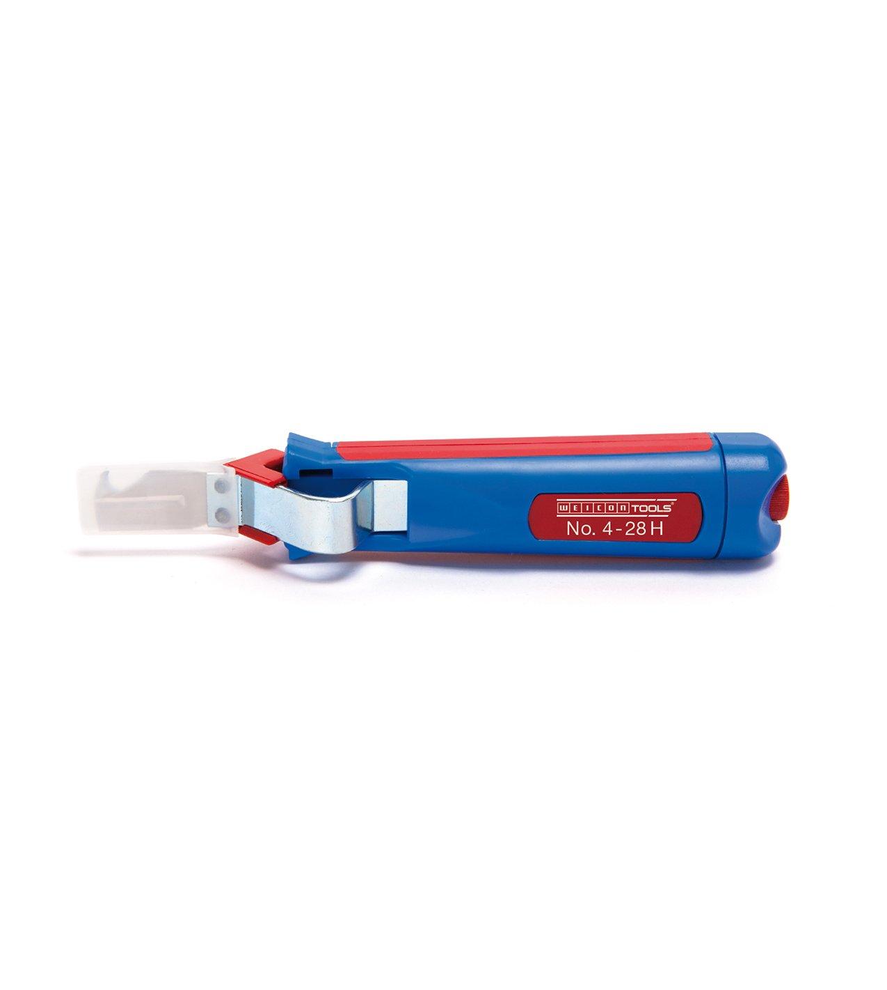 WEICON Kabelmesser No.4-28 H | Multi Abisoliermesser mit Hakenklinge | Universal Abilsolierwerkzeug mit verstellbarer Schnitttiefe | Entmantler für Rundkabel | Arbeitsbereich 4 - 28 mm Ø | Abmantler Abisolierer| TÜV | blau / rot | 100% Mad