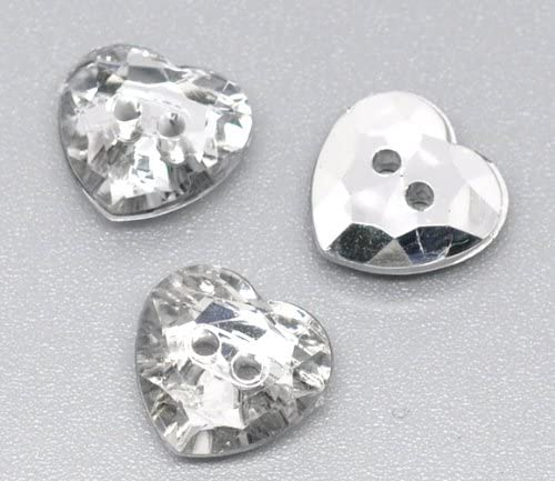 13mm Silver Backed Crystal Rhinestone Heart Shaped Buttons Packs 2 5 10 or 20