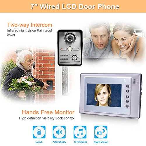 Doorbell, UEB Wired 7'' LCD Video Door Phone Doorbell Kit Home Intercom System by UEB (Image #2)